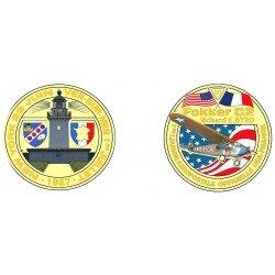 F1107 Medal 70 mm Assoc America Gold Beach 3 Plane