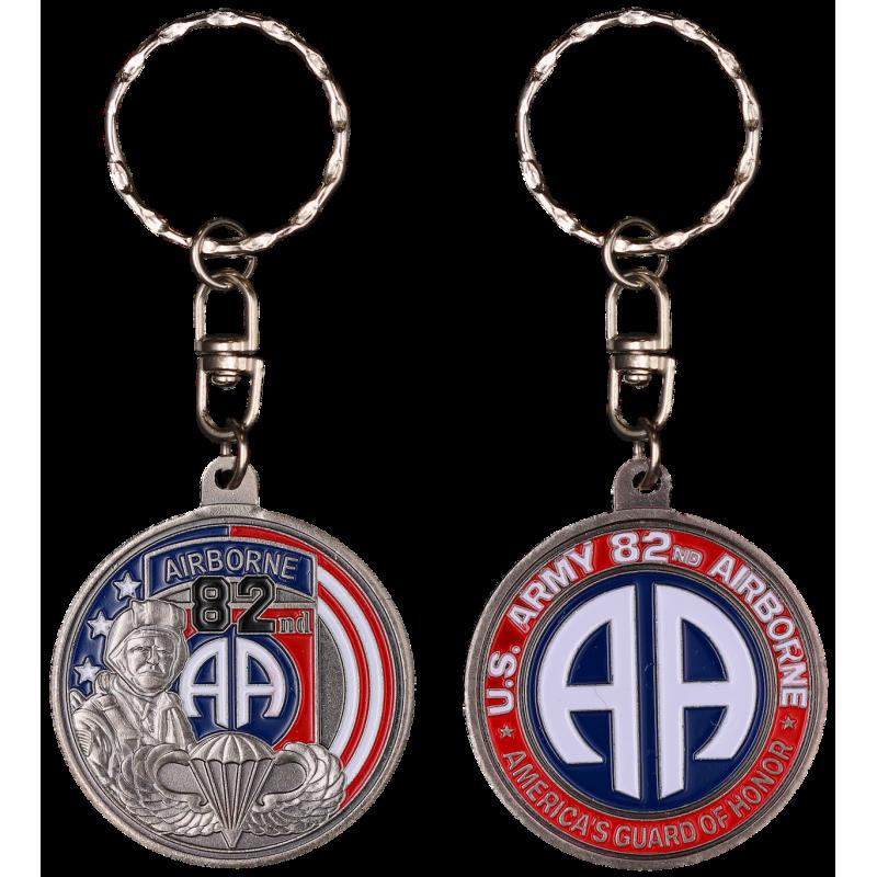 PCDD3S Keychain Round 82Nd Airborne Division vintage silver