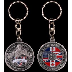 "PCDD5S ""Keychain Round """"V"""" De Victory"" vintage silver"