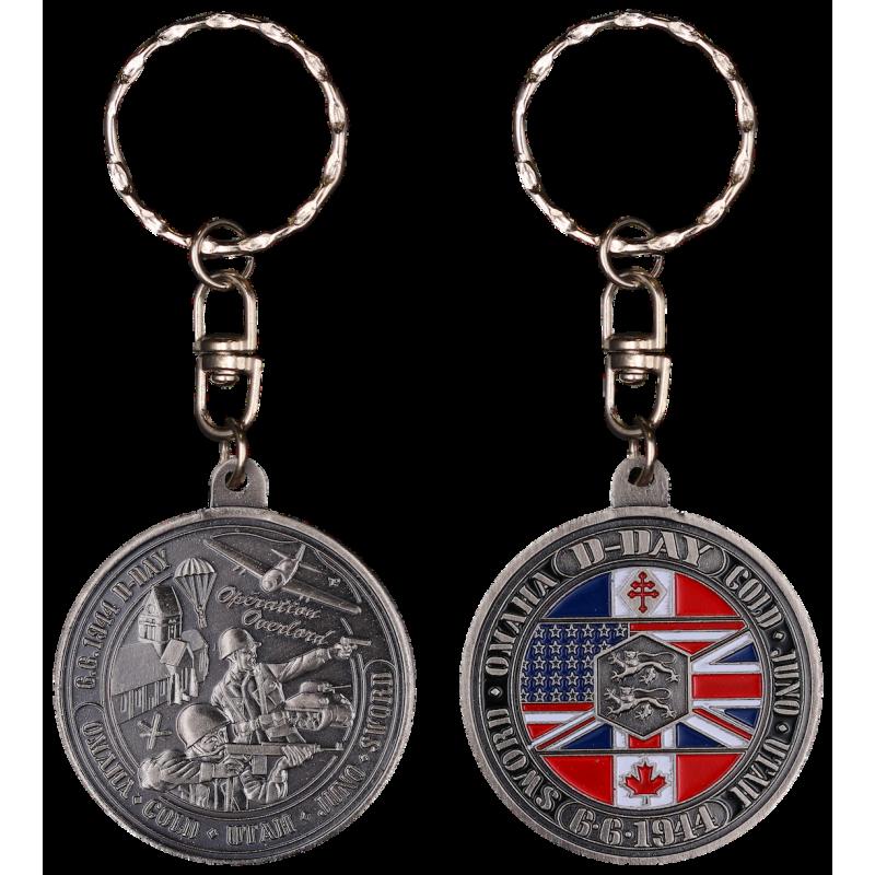 PCDD6S Keychain Round Debarquement vintage silver