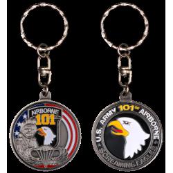 PCDD4S Keychain Round 101St Airborne Division vintage silver