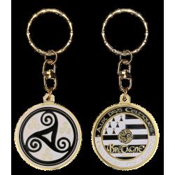 PC083 Keychain Round Triskell Noir & Blanc