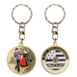 PC082 Keychain Round Couple Breton