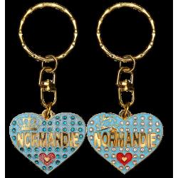 PC048 Key Ring Heart Blue Normandie