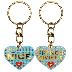PC043 Key Ring Heart Blue Nice