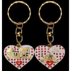 PC039 Key Ring Heart White Mont Saint Michel