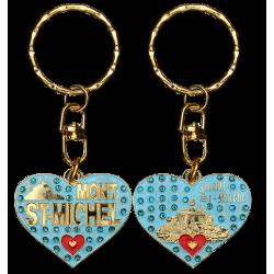 PC038 Key Ring Heart Blue Mont Saint Michel