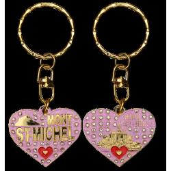 PC037 Key Ring Heart Pink Mont Saint Michel