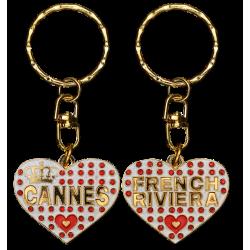 PC034 Key Ring Heart WhiteCannes
