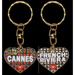 PC030 Key Ring Heart Black Cannes