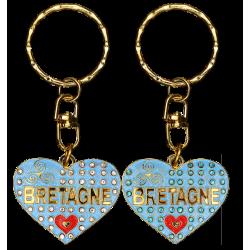 PC027 Key RingHeart Blue Bretagne