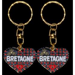 PC024 Key RingHeart BlackBretagne