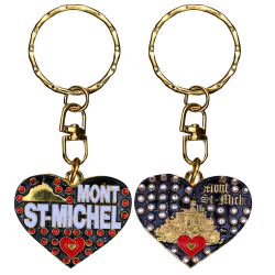 PC035 Key Ring Heart Red Mont Saint Michel
