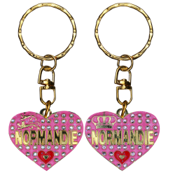 PC047 Key Ring Heart Pink Normandie