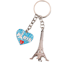 PC098 Key Ring Heart Red Tour Eiffel 3D