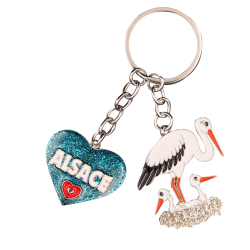 PC131 Key Ring Heart Blue Alsace
