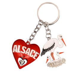 PC140 Key Ring Heart 3D Red Alsace