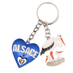 PC141 Key Ring Heart 3D Blue Alsace