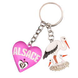 PC142 Key Ring Heart 3D Pink Alsace