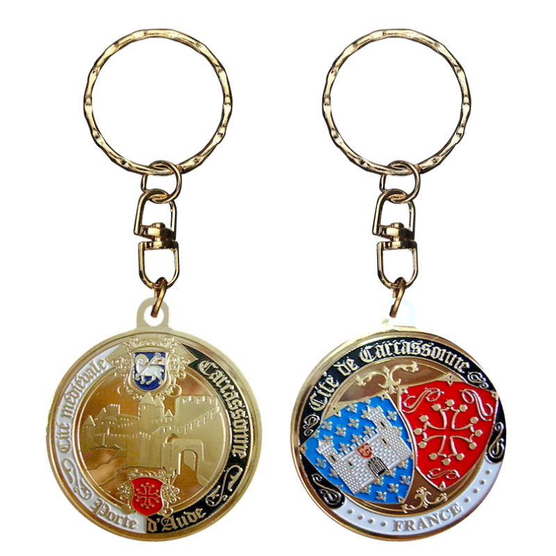 PC091 Keychain Round Carcassonne Pte D'Aude