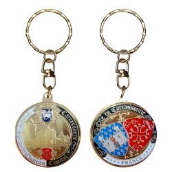 PC092 Keychain Round Carcassonne Chateau
