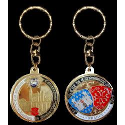 PC093 Keychain Round Carcassonne Basilique