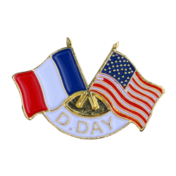 341 Badges 2 Flags France / U.S.A With Butterfly Clutch
