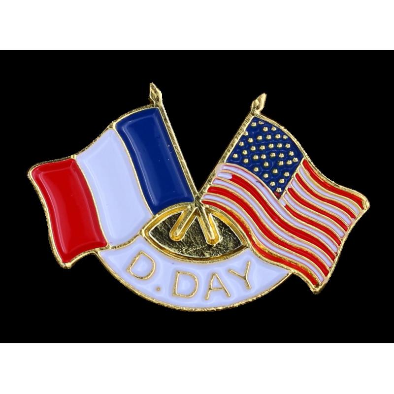 341 Pins D-Day 2 Drap. France  U.S.A.