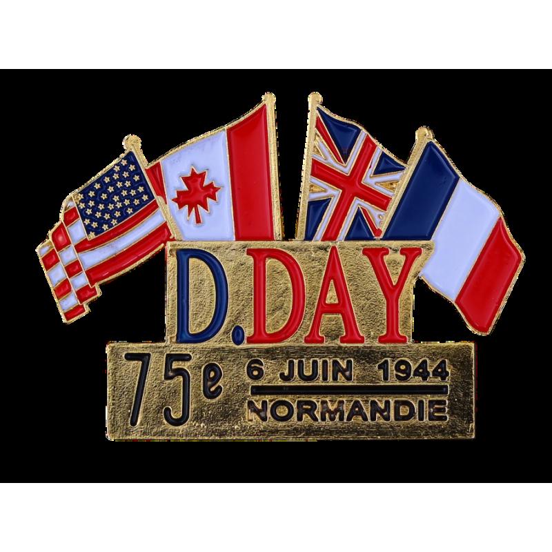 344_75 Pins D-Day Drapeaux France  Canada  USA  UK Edition spéciale 75éme Anniversaire