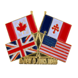 PDD1 Pins D-Day Drapeaux France  Canada  USA  UK