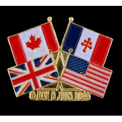 PDD1 Pins D-Day Drapeaux France  Canada  USA  UK