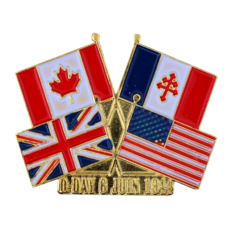 PDD1 Badges Flags France / Canada / USA / UK With Butterfly Clutch