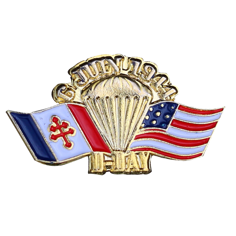 PDD18 Badges Paraglide - FlagsFrance UsaWith Butterfly Clutch