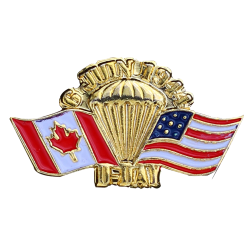 PDD16 Badges Paraglide - Flags Canada Usa With Butterfly Clutch
