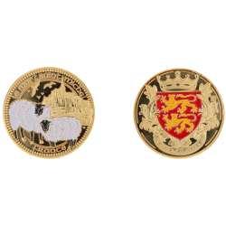 D11312 Medaille 32 mm Le Mont St Michel + Mouton Couleur Blason