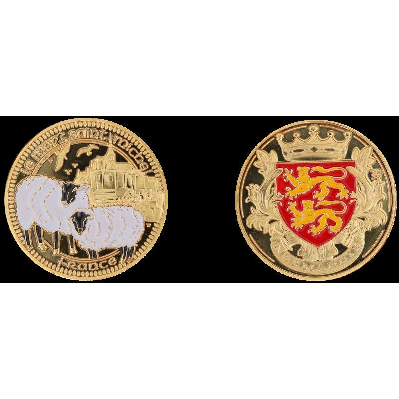 D11312 Medaille 32 mm Le Mont St Michel + Mouton Couleur Blason
