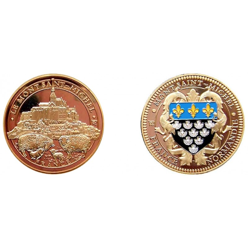 D11169 Medal 32 mm Le Mont St Michel + Mouton Or Blason Msm