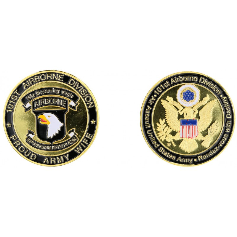 E1155 Medal 40 mm 101St Proud Army Wife Logo Usa