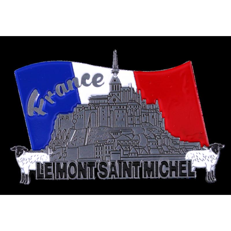 MN2 Magnet Metal Mont Saint Michel + Flag France