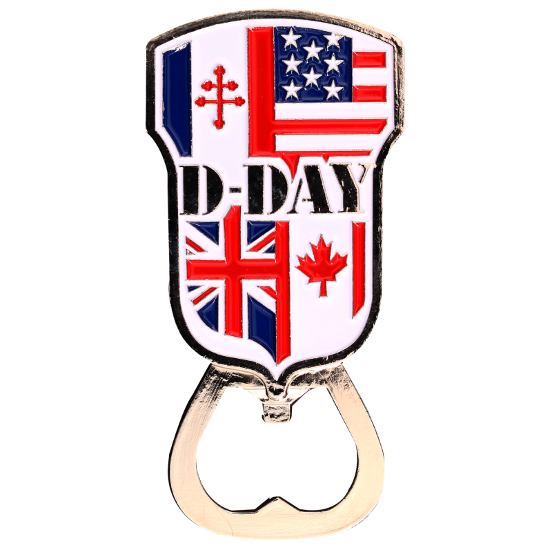 MN10 Magnet Metal D Day bottle opener Flags Allies