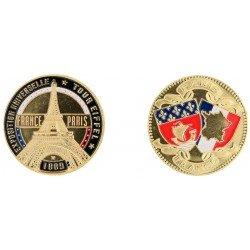 D11218 Medaille 32 mm T.E. Expo Couleur Contour Noir
