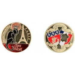 D11220 Medaille 32 mm Chat Noir