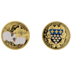 D11264 Medaille 32 mm Le Mont St Michel + Mouton Couleur Blason