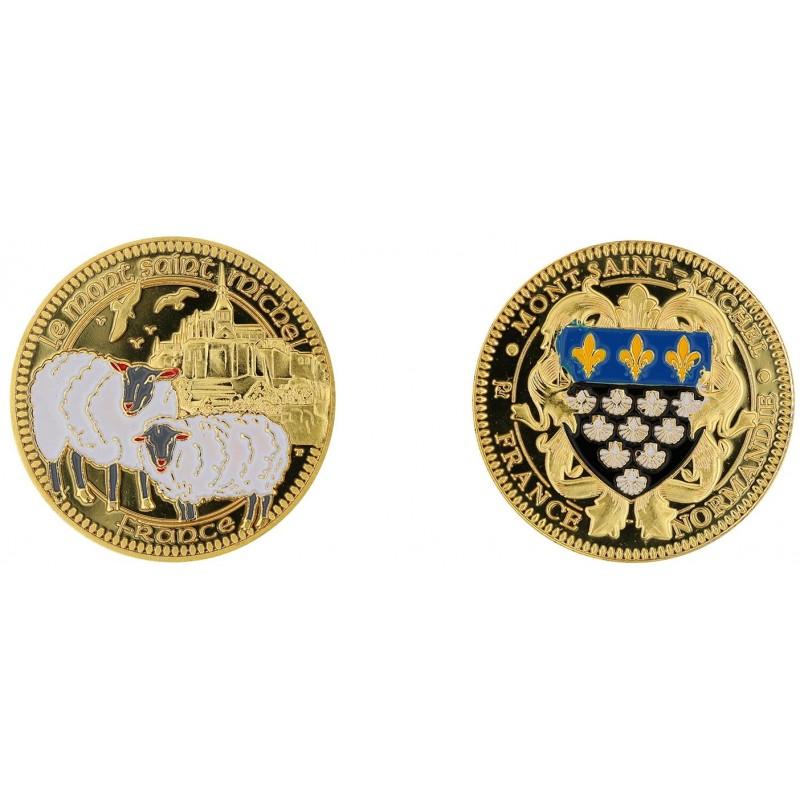 D11264 Medal 32 mm Le Mont St Michel + Mouton Couleur Blason