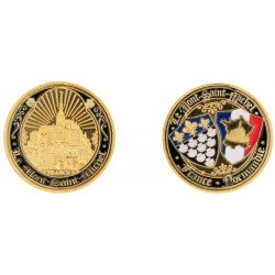 D11381 Medaille 32 mm Le Mont St Michel Contour Noir + Rayons
