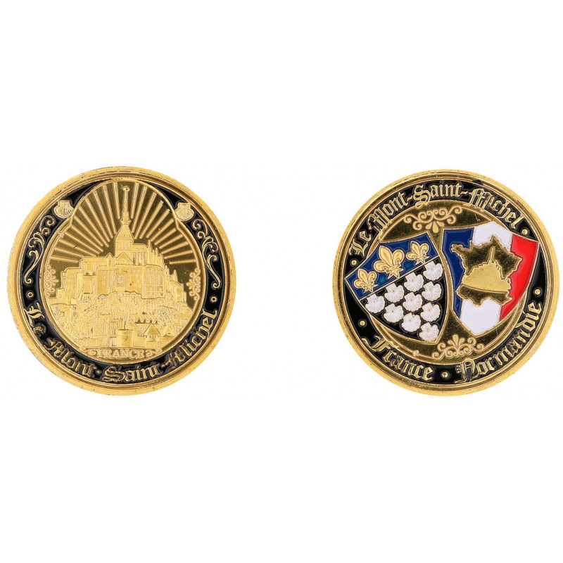 D11381 Medal 32 mm Le Mont St Michel Contour Noir + Rayons